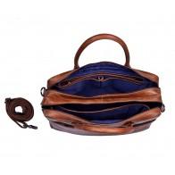 DSTRCT Fletcher Street Business Laptop Bag Cognac 15 inch Open