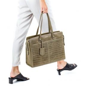 Burkely Dames Leren Laptoptas 15 6 inch Croco Caia Groen Model