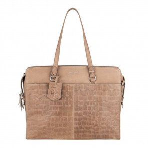 Burkely Dames Leren Laptoptas 15 6 inch Croco Caia Taupe Voorkant
