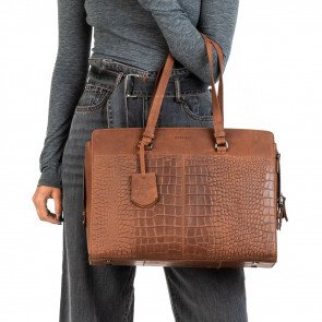 Burkely Dames Leren Laptoptas 15 6 inch Croco Cody Cognac Model