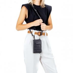 Burkely Dames Leren Phonebag Croco Caia Zwart Model