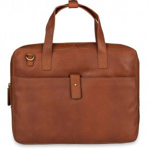Burkely Leren Laptoptas 14 inch Fundamentals Vintage Noa Little Worker Cognac Voorkant