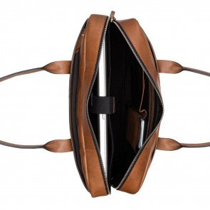 Burkely Leren Laptoptas 15.6 inch Suburb Seth Cognac Open