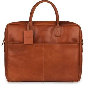 Burkely Leren Laptoptas 17 inch Fundamentals Vintage Max Big Worker Cognac