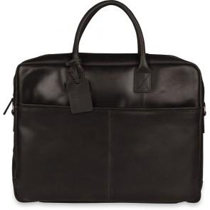 Burkely Leren Laptoptas 17 inch Fundamentals Vintage Max Big Worker Zwart Voorkant