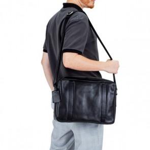Burkely Leren Laptoptas Messenger 14 inch Suburb Seth Zwart Model