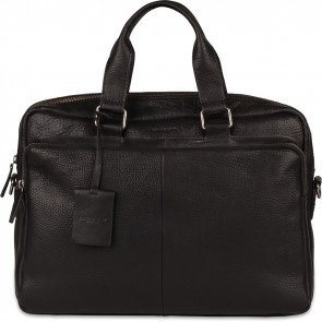 Burkely Leren Laptoptas Workbag 15.6 inch Antique Avery Zwart Voorkant
