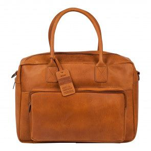 Burkely Vintage Businessbag Shoulderbag Front Pocket Cognac 14 inch Voorkant