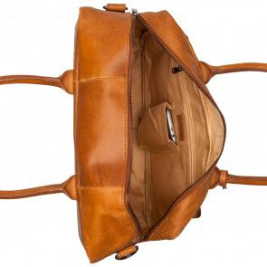 Burkely Vintage Businessbag Shoulderbag Front Pocket Cognac 14 inch Open