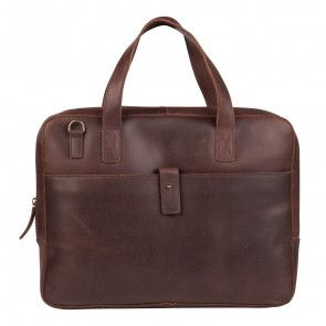 Burkely Noa Vintage Businessbag SlimDark Brown 14 inch Voorkant
