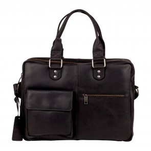 Burkely Quinn Vintage Business Shoulderbag Black 14 inch Voorkant