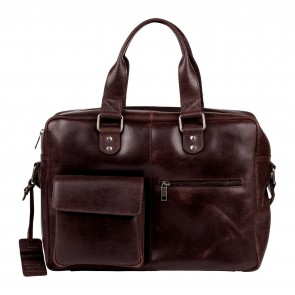 Burkely Quinn Vintage Business Shoulderbag Dark Brown 14 inch Voorkant