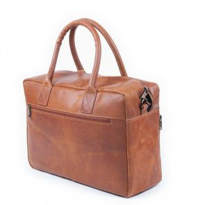 Burkely Vintage Businessbag Shoulderbag Front Pocket Cognac 14 inch Achterkant