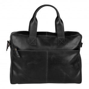 Burkely River Vintage Business Shoulderbag Black 15 inch Voorkant