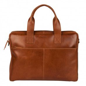 Burkely River Vintage Business Shoulderbag Cognac 15 inch Voorkant