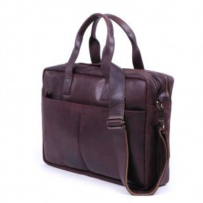 Burkely laptoptas Vintage Shoulderbag Dark Brown 13 inch schuin voorkant rechts