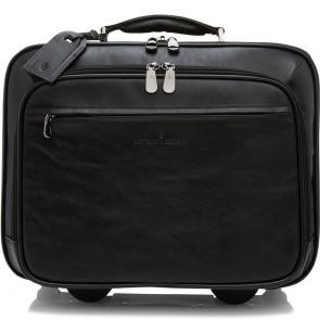 Castelijn & Beerens Heren Leren Laptop Trolley 15.6 inch Firenze Zwart Voorkant
