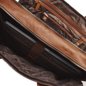 Castelijn & Beerens Heren Leren Laptoptas 17 inch 3 Vaks RFID Firenze Lichtbruin Open
