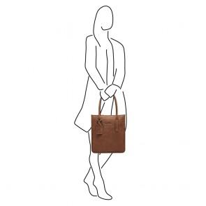 Castelijn & Beerens Leren Shopper 15.6 inch RFID Carisma Cognac Model