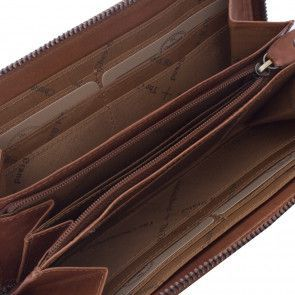 Chesterfield Ascot Leren Dames Portemonnee Zipper Cognac Binnenkant