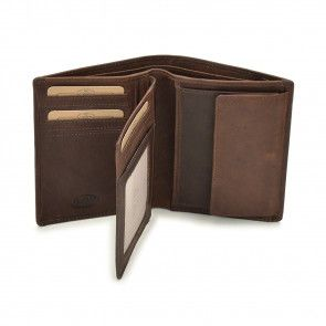 Chesterfield Ascot Leren Billfold High Portemonnee Brown Open