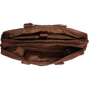 Chesterfield Leren Laptoptas 15.6 inch Floris Bruin Open
