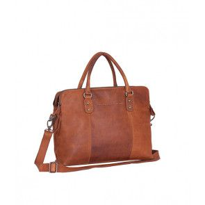Chesterfield Maria 3-vaks Shoulderbag Cognac 15 inch Voorkant