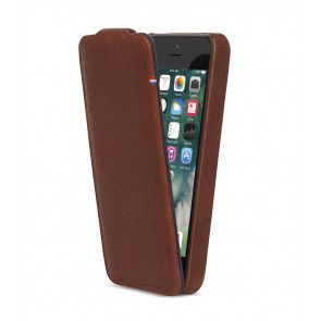 Decoded iPhone 5/5S/SE Leather Flip Case Brown Voorkant