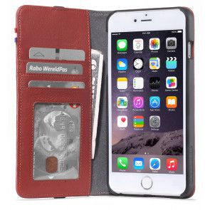 Decoded iPhone 6/6S Plus Leather Wallet Case Red Open