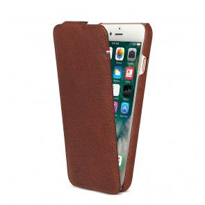Decoded iPhone 8/7/6/6S Leather Flip Case Brown Voorkant
