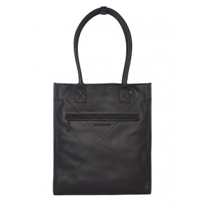 Decoded Leather Lady Tote 13 inch Black Voorkant