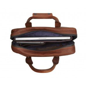 Decoded Leather Briefcase 15 inch Brown Open