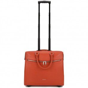 Gigi Fratelli Dames Leren Laptop Trolley 15.6 inch Romance Business ROM8015 Oranje Trekstang