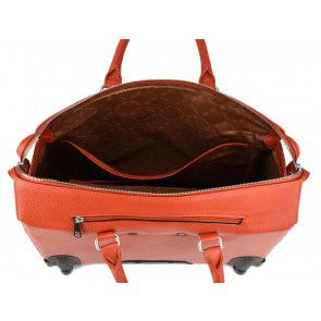 Gigi Fratelli Dames Leren Laptop Trolley 15.6 inch Romance Business ROM8015 Oranje Binnenkant