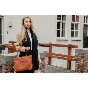 DSTRCT Dames Leren Handtas Wax Lane 380730 Cognac Model