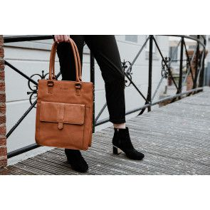 DSTRCT Dames Leren Shopper 14 inch Wax Lane Cognac Model