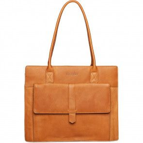DSTRCT Dames Leren Shopper Laptoptas 14 inch Wax Lane 380830 Cognac Voorkant