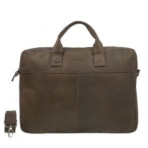 DSTRCT Fletcher Street Business Bag Brown 15-17 inch Voorkant