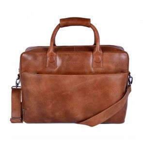 DSTRCT Fletcher Street Business Laptop Bag Cognac 15-17 inch Voorkant