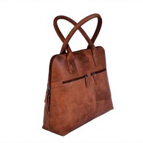 DSTRCT Fletcher Street Dames Laptop Bag Cognac 11.6 inch Voor- zijkant
