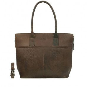 DSTRCT Fletcher Street Dames Laptop Tote Anaconda Brown 15 inch Voorkant