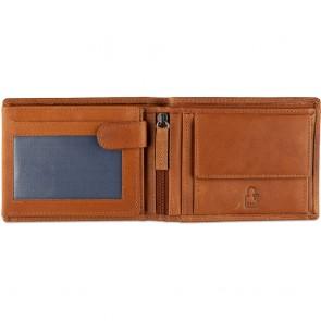 DSTRCT Leren Heren Billfold Portemonnee Wax Lane 384130 Cognac Binnenkant
