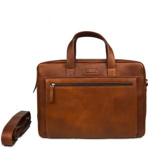 DSTRCT Leren Laptoptas 15.6 inch 2- Vak Premium Collection Incl. Onderhoudspakket Cognac Voorkant