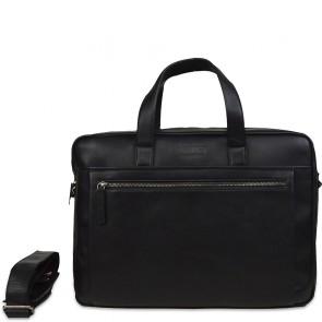 DSTRCT Leren Laptoptas 15.6 inch Premium Collection Incl. Onderhoudspakket Zwart Voorkant