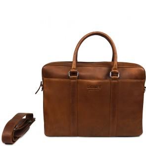 DSTRCT Leren Laptoptas 15.6 inch Premium Collection Incl. Onderhoudspakket Cognac Voorkant