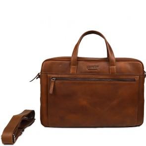 DSTRCT Leren Laptoptas 17 inch Premium Collection Incl. Onderhoudspakket Cognac Voorkant
