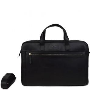 DSTRCT Leren Laptoptas 17 inch Premium Collection Incl. Onderhoudspakket Zwart Voorkant