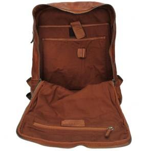 DSTRCT Pearl Street Backpack Cognac 15.6 inch Open