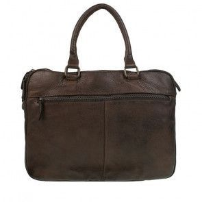 DSTRCT Pearl Street Laptoptas Double Zip Brown 15.6 inch Achterkant