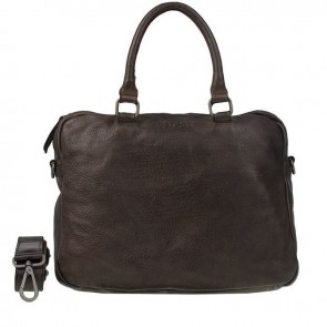 DSTRCT Pearl Street Laptoptas Double Zip Brown 15.6 inch Voorkant